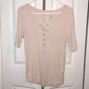 Light pink striped mid-sleeve top